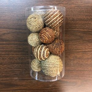 NEW Twine Ball Decor Set Brown Cream